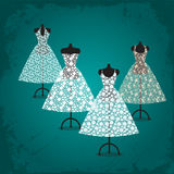 Lace dresses. Four beautiful  lace dresses on mannequins Royalty Free Stock Photography