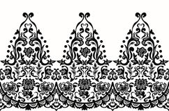 Lace elegant seamless baroque pattern vector. Embroidery design. Luxury style black and white illustration stock illustration
