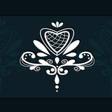 Lace element ornamental heart emblem. For decor stock illustration