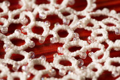 Lace Embroid Snowflake Decoration Ornament, Embroidered Macro Royalty Free Stock Photos