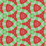 Lace embroidery continuous pattern in red and green. Embroidery continuous pattern in red and green stock illustration