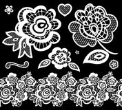 Lace embroidery design elements. With abstract flowers on black background vector illustration