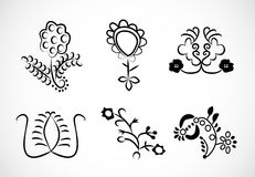 Lace embroidery floral ornaments. Collection of lace embroidery floral ornaments, isolated royalty free illustration