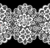 Lace embroidery seamless border. Isolated on black background royalty free illustration