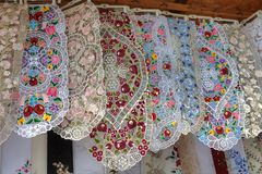 Lace and embroidery textiles Royalty Free Stock Photos