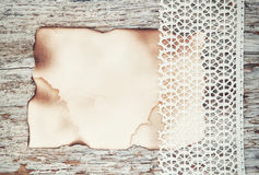 Lace fabric and aged paper on the old wood Royalty Free Stock Photography