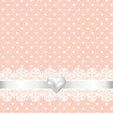 Lace fabric background and pearl heart Royalty Free Stock Photo