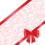lace fabric background with ribbon bow Stock Image