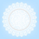 Lace fabric doily and pearls Stock Photos