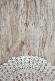 Lace fabric on the old wood Stock Photography