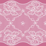 Lace fabric seamless border with abstact flowers Royalty Free Stock Photography