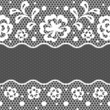 Lace fabric seamless border with abstract flowers Stock Image
