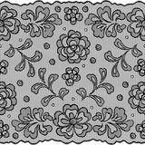 Lace fabric seamless border with abstract flowers Stock Photos