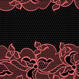 Lace fabric seamless border with abstract flowers Royalty Free Stock Image