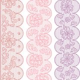 Lace fabric seamless borders with abstact flowers Royalty Free Stock Images
