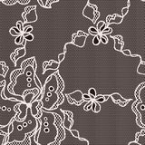 Lace fabric seamless pattern with abstract flowers Royalty Free Stock Photography