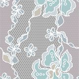 Lace fabric seamless pattern with abstract flowers Stock Image