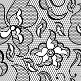 Lace fabric seamless pattern with abstract flowers Stock Photos