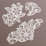 Lace fashion handmade decoration with flowers. Vector needlework vector illustration