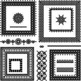 Lace or filigree frames, seamless borders, vignett Stock Image