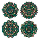 Lace floral pattern with emerald flower petals Royalty Free Stock Photo