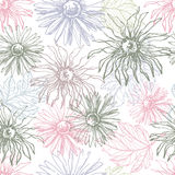 Lace  flowers seamless pattern in tender pastel tones Royalty Free Stock Images