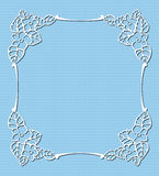 Lace frame. On seamless linen pattern Royalty Free Stock Photos