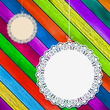 Lace frame on colorful wooden background. + EPS8. Vector file Vector Illustration