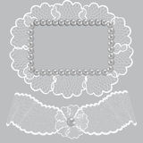 Lace frame decorated with pearls Stock Images