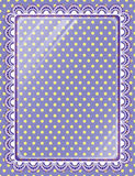 Lace frame with glass on the background polka dots Stock Photos