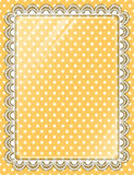 Lace frame with glass on the background polka dots Stock Photography