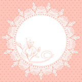 Lace frame with lily sketch Stock Photo