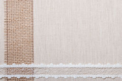 Lace frame on linen cloth background Stock Photography