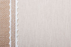 Lace frame on linen cloth background Stock Photos