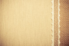 Lace frame on linen cloth background Royalty Free Stock Photos