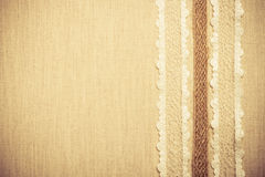 Lace frame on linen cloth background Royalty Free Stock Images