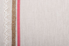 Lace frame on linen cloth background Royalty Free Stock Photo