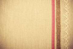 Lace frame on linen cloth background Royalty Free Stock Photography