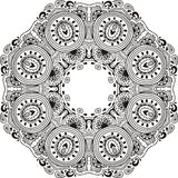 Lace frame. Mandala design, coloring book. Round for paisley, eastern cucumber Royalty Free Stock Photography