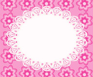 Lace frame with pink flowers. Royalty Free Stock Photos