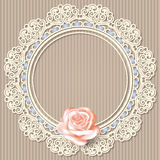 Lace frame, realistic rose on beige striped background. Retro background with white empty lace frame doily, realistic rose on beige striped background. in Royalty Free Stock Photography