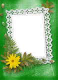 Lace frame with ribbons and beads Stock Photos