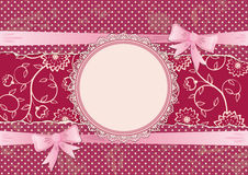 Lace frame and ribbons with bows Stock Photography