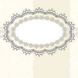 Lace frame on textured background Royalty Free Stock Photo