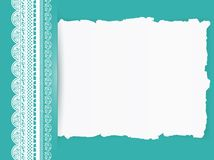 Lace frame with torn paper Royalty Free Stock Images