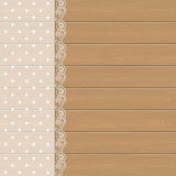 Lace frame on wood background Royalty Free Stock Image