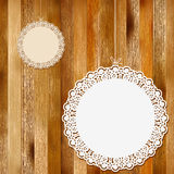 Lace frame on wooden background. + EPS8. Vector file Stock Illustration