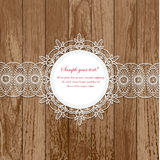 Lace frames. Vintage lace card with frame on wooden background Royalty Free Stock Images