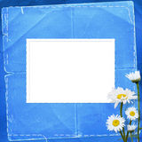Lace frames with bunch of flower. On the blue background Royalty Free Stock Images