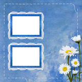 Lace frames with bunch of flower. On the blue background Royalty Free Stock Photo